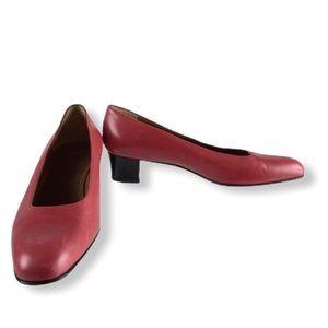 COACH classic red block heel pumps